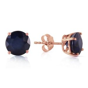 14K SOLID GOLD STUD EARRING WITH NATURAL SAPPHIRES